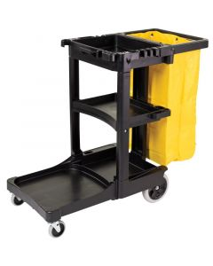 Rubbermaid Cleaning Cart with Zippered Yellow Vinyl Bag